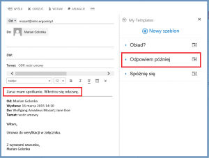 Plugin My Templates w programie Outlook Web App 2013