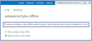 Ustawienia trybu offline programu Outlook Web App 2013