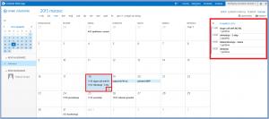 Widok miesiąca + plan bieżącego dnia w kalendarzu OWA 2013