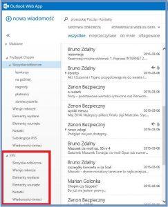 Widok skrzynki udostępnionej przez innego użytkownika - Outlook Web App 2013