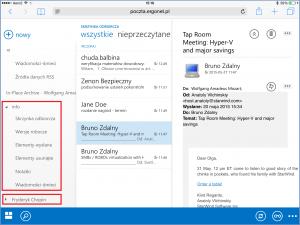 Foldery skrzynki udostępnionej - OWA 2013 na iPadzie