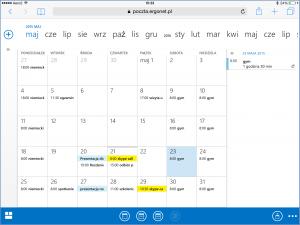 Widok kalendarza konta Exchange w OWA 2013 na iPadzie
