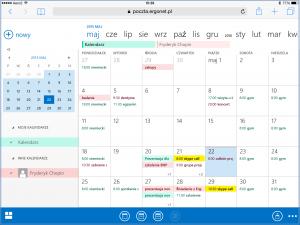 Widok kalendarzy wyświetlonych w trybie nakładki - OWA 2013 na iPadzie