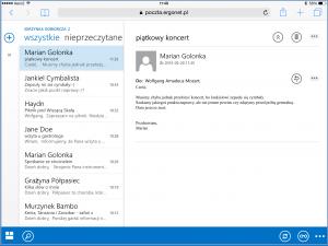 Widok domyślny OWA na iPadzie