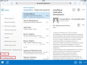 Widok skrzynek udostępnionych po zalogowaniu się do OWA na iPadzie