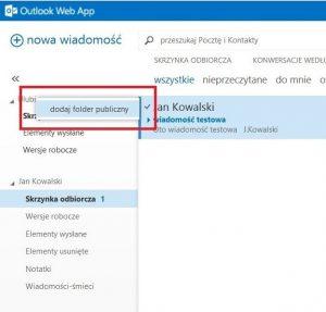 Dodawanie folderu publicznego do obszaru Ulubione w OWA 2013