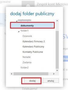 Widok folderów publicznych w programie Outlook Web App 2013
