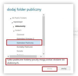 Folder publiczny typu kalendarz w programie Outlook Web App 2013