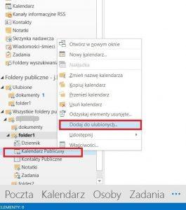 Dodawanie do ulubionych folderu publicznego typu kalendarz - Outlook 2013