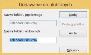 Folder publiczny typu kalendarz w programie MS Outlook 2013