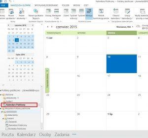 Folder publiczny typu kalendarz w programie Outlook 2013