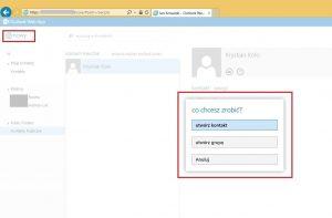 Tworzenie kontaktu w folderze publicznym typu Kontakty w OWA 2013