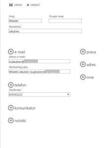 Tworzenie kontaktu w folderze publicznym typu Kontakty w programie Outlook Web App 2013