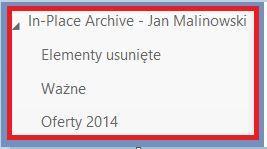 Widok folderów Archiwum Online (In-Place Archive) w programie Outlook Web App