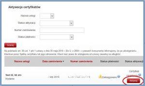 Szyfrowanie - Aktywacja certyfikatu