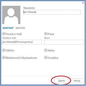 Szyfrowanie - Zapisywanie kontaktu w programie pocztowym