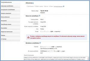 Szyfrowanie - Aktywacja certyfikatu - Potwierdzenie wprowadzonych danych