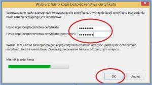 Szyfrowanie - Hasło kopii zapasowej certyfikatu