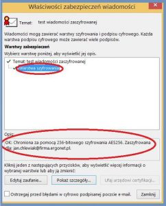 Szyfrowanie - Informacje o sposobie szyfrowania oraz odbiorcy wiadomości