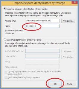 Szyfrowanie - Zatwierdzenie importu identyfikatora cyfrowego w programie Outlook 2013
