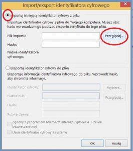 Szyfrowanie - Konfiguracja programu pocztowego_Import identyfikatora cyfrowego