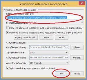Szyfrowanie - Konfiguracja_Zmienianie ustawienia zabezpieczeń