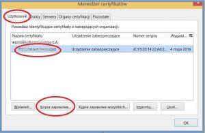 Szyfrowanie - Menedżer certyfikatów_Eksport certyfikatu