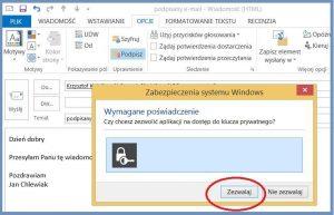Szyfrowanie - Zezwolenie na użycie klucza szyfrującego