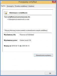 Szyfrowanie - Informacje szczegółowe dotyczące certyfikatu