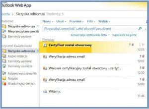 Szyfrowanie - Wiadomość e-mail z linkiem do instalacji certyfikatu