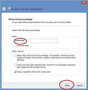 Szyfrowanie - Kreator importu certyfikatów - Ochrona klucza prywatnego