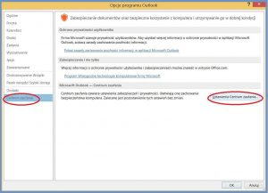 Szyfrowanie - Opcje programu Outlook - Centrum zaufania - Ustawienia