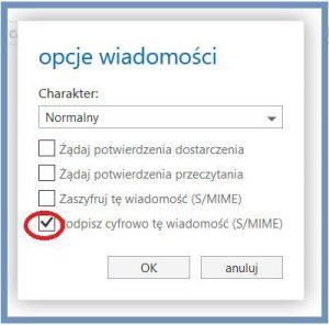 Szyfrowanie - Opcje wiadomości - Podpisz cyfrowo tę wiadomość - OWA