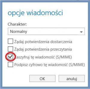 Szyfrowanie - Opcje wiadomości w OWA - Zaszyfruj tę wiadomość