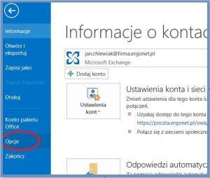 Outlook - Opcje