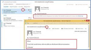 Szyfrowanie - Widok zaszyfrowanej wiadomości z poziomu odbiorcy