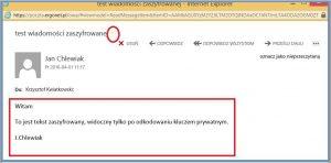 Szyfrowanie - Zaszyfrowana wiadomość - OWA